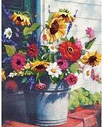 Bucket Of Flowers Gallery - Crewel Embroidery Kit