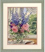 Peonies & Delphiniums - Cross Stitch Kit