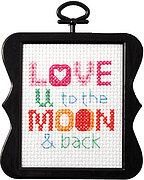 Love U To The Moon Beginner Mini - Counted Cross Stitch Kit