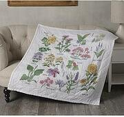 Wildflower Botanical Lap Quilt - Stamped Cross Stitch Kit