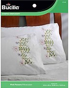 Pink Flowers - Stamped Embroidery Pillowcase Pair