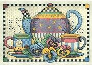 Teatime Pansies - Mini Cross Stitch Kit