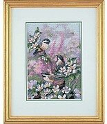 Chickadees in Spring - Cross Stitch Kit
