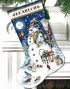 Snowman & Friends Stocking - Cross Stitch Kit