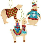 Assorted Animals Christmas Ornaments - Wood Cross Stitch Kit