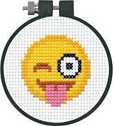 Tongue Out Emoji Learn-A-Craft - Beginner Cross Stitch Kit