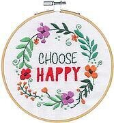 "Choose Happy - Dimensions Embroidery Kit with 6"" Hoop"