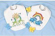 Noah's Ark Bibs Stamped Cross Stitch Kit