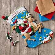 Reindeer Santa Claus Christmas Stocking Felt Applique Kit
