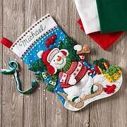 Nordic Snowman Christmas Stocking Felt Applique Kit