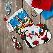 Christmas Village Christmas Stocking Felt Applique Kit