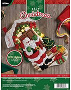 Santa is Here with Lights Christmas Stocking Felt Applique