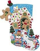 Gingerbread Dreams Stocking - Christmas Felt Applique Kit