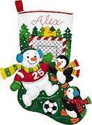 Snowman Soccer Fan Christmas Stocking - Felt Applique Kit