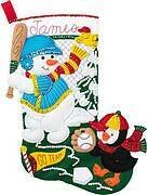 Baseball Snowman Christmas Stocking - Felt Applique Kit