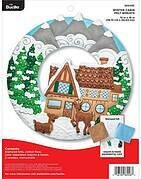 Winter Cabin Christmas Wreath - Felt Applique Kit