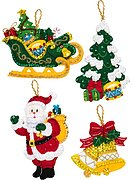 Santa's Grand Sleigh Christmas Ornaments - Felt Applique Kit