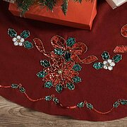 Glitzy Poinsettia Christmas Tree Skirt - Felt Applique Kit