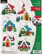 Winter Village Christmas Ornaments - Felt Applique Kit