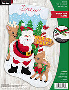 North Pole Santa Christmas Stocking - Felt Applique Kit