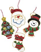 Glitz Santa Christmas Ornaments - Felt Applique Kit