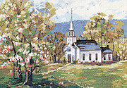Countryside White Church - Cross Stitch Pattern
