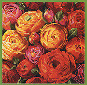 Ranunculus Flowers - Cross Stitch Pattern
