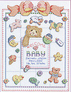 Buttons and Bows Birth Record - Cross Stitch Pattern