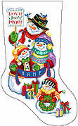 Snow Folks Christmas Stocking -  Cross Stitch Pattern
