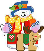 Snowman and Reindeer Big Stitch - Cross Stitch Pattern