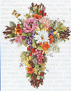 Summer Floral Cross - Cross Stitch Pattern