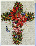 Winter Floral Cross - Cross Stitch Pattern