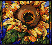 Stained Glass Sunflowers - Cross Stitch Pattern