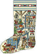 Holiday Workshop Christmas Stocking - Cross Stitch Pattern