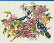 Blue Jays and Clematis - Cross Stitch Pattern