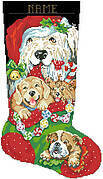 Puppies for Christmas Stocking - Cross Stitch Pattern