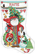 Folk Art Collection Christmas Stocking -Cross Stitch Pattern