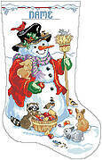 Snowman and Friends Christmas Stocking- Cross Stitch Pattern