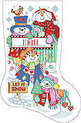 Let It Snow Christmas Stocking - Cross Stitch Pattern