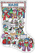 Snowman Sampler Christmas Stocking - Cross Stitch Pattern