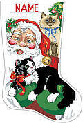 Santa's Furry Friends Xmas Stocking - Cross Stitch Pattern