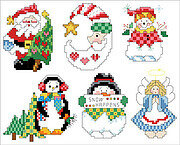 Snow Happens Christmas Ornaments - Cross Stitch Pattern