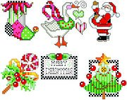 Checkered Christmas Ornament Set 1 - Cross Stitch Pattern