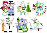 Checkered Christmas Ornament Set 3 - Cross Stitch Pattern