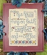 Faith, Laughter, & Coffee - Cross Stitch Pattern