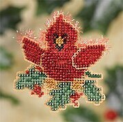 Christmas Cardinal - Beaded Cross Stitch Kit