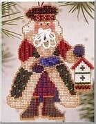 Bluebird Santa - Alpine Santas - Beaded Cross Stitch Kit