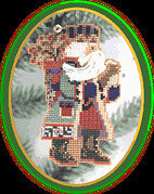 Holly Berries Santa - Beaded Cross Stitch Kit
