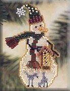 Birdhouse Snow Charmer - Beaded Cross Stitch Kit