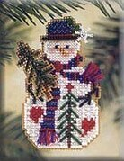 Pine Tree Snow Charmer - Beaded Cross Stitch Kit